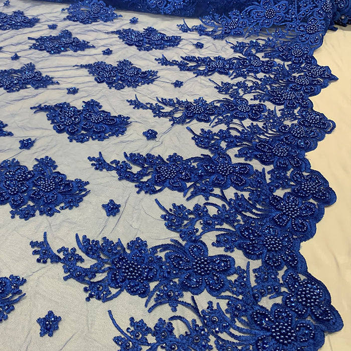 Royal Blue - Corded Flowers Floral Beaded Mesh Lace Wedding Dress - IceFabrics