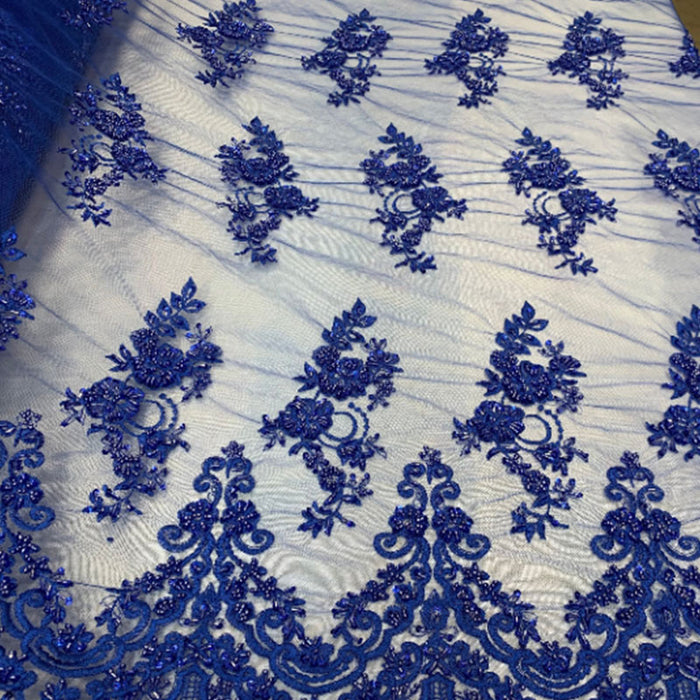 Royal Blue - Floral Embroidered Bridal Wedding Beaded Mesh Lace Fabric - IceFabrics