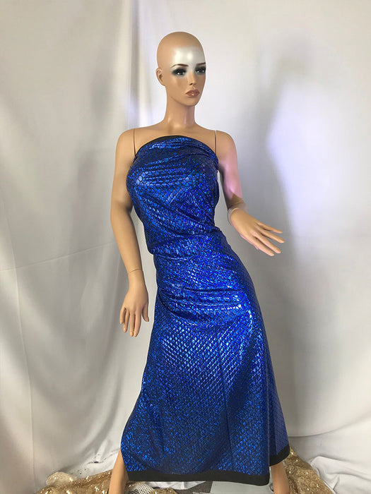 Royal Blue - Spandex Mermaid Scale Sparkle Hologram Spandex Fabric By The Yard - IceFabrics