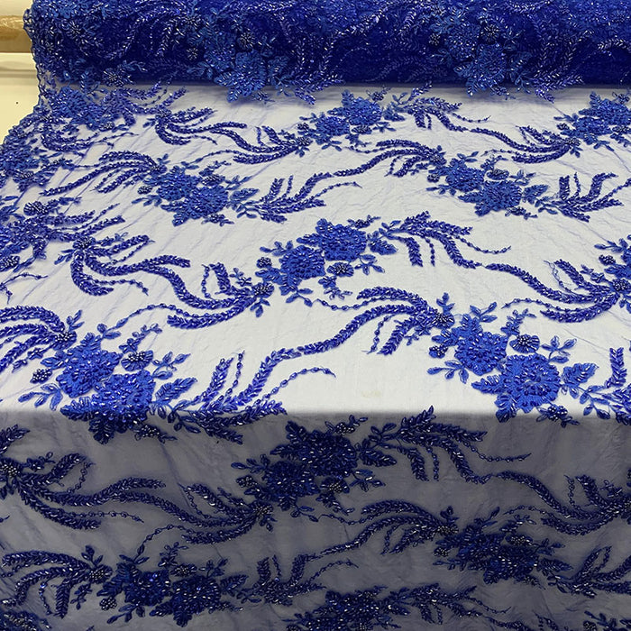 Royal Blue - FRENCH FLOWERS BEADED MESH LACE FABRIC BY THE YARD - IceFabrics