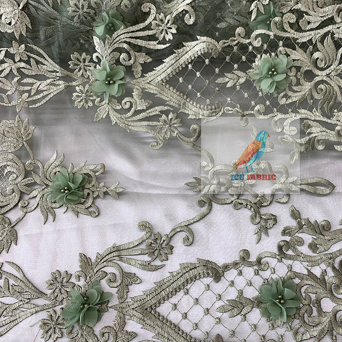 Sage - ICEFABRIC//Deluxe 3D Flowers/Floral Lace Embroider Beaded Mesh Lace Fabric Sold By The Yard// For Decorations, Costumes, Night Gowns - IceFabrics