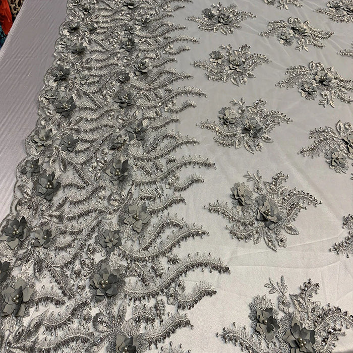 Silver/Gray - New 3D Beaded Flowers Hand Embroidered Floral Mesh Lace With Sequins By The Yard For Prom Dresses/Tablecloths/Runners/Night Gowns - IceFabrics