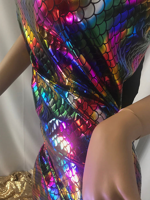 Swimsuits Mermaid Fish Tail Scale Sparkle Hologram Spandex Tie Dye Bathing Suit By The Yard - IceFabrics