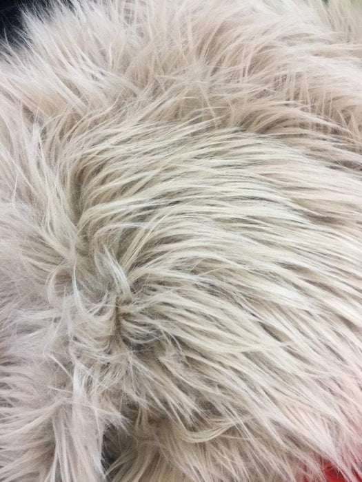 Taupe - Fur Coats, Fur Clothing, Blankets, Bed Spreads, Throw Blanket Fake Fur Solid Mongolian Long Pile Fabric / Sold By The Yard - IceFabrics