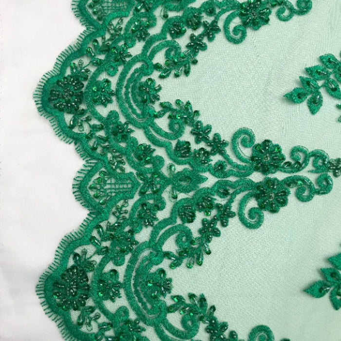 Teal Green - Floral Embroidered Bridal Wedding Beaded Mesh Lace Fabric - IceFabrics