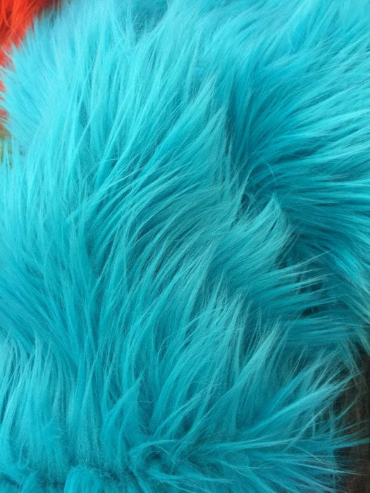 Turquoise - Fur Coats, Fur Clothing, Blankets, Bed Spreads, Throw Blanket Fake Fur Solid Mongolian Long Pile Fabric / Sold By The Yard - IceFabrics