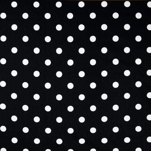 White Dot on Black - 1-Inch Polka Dot/Spot Poly Cotton Fabric - IceFabrics
