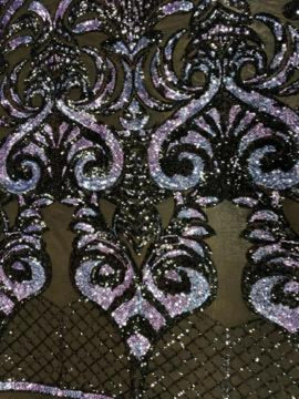 Lavender Iridescent On Black Mesh - Geometric Design 4 Way Stretch Spandex Sequins Mesh Lace Fabric - IceFabrics
