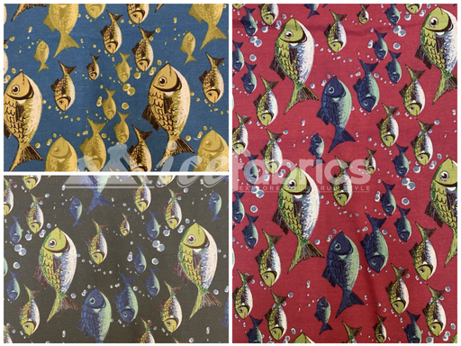 Fashion Fish Print Poly Cotton Fabric By The Yard (Red, Gray, Blue)