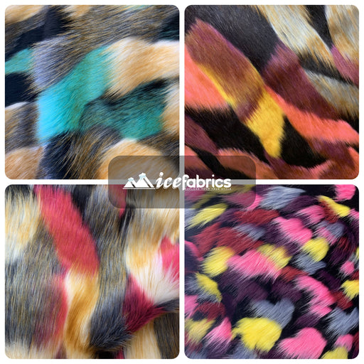 Multi_Color Animal Fake Faux Fur Fabric By The Yard