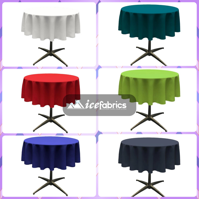 51-Inch Polyester Round Tablecloth (40 Colors)