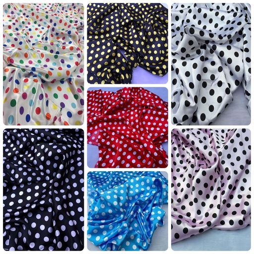 1/2inch Polka Dot Silky/Soft Charmeuse Satin Fabric