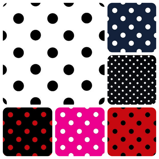 1-Inch Polka Dot/Spot Poly Cotton Fabric By The Yard