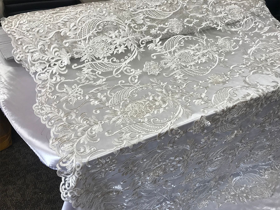 White- Design Beaded Mesh Lace Fabric Bridal Wedding Sold By Yard clothing, jackets, dresses,skirts, applications, table covers, runners - IceFabrics