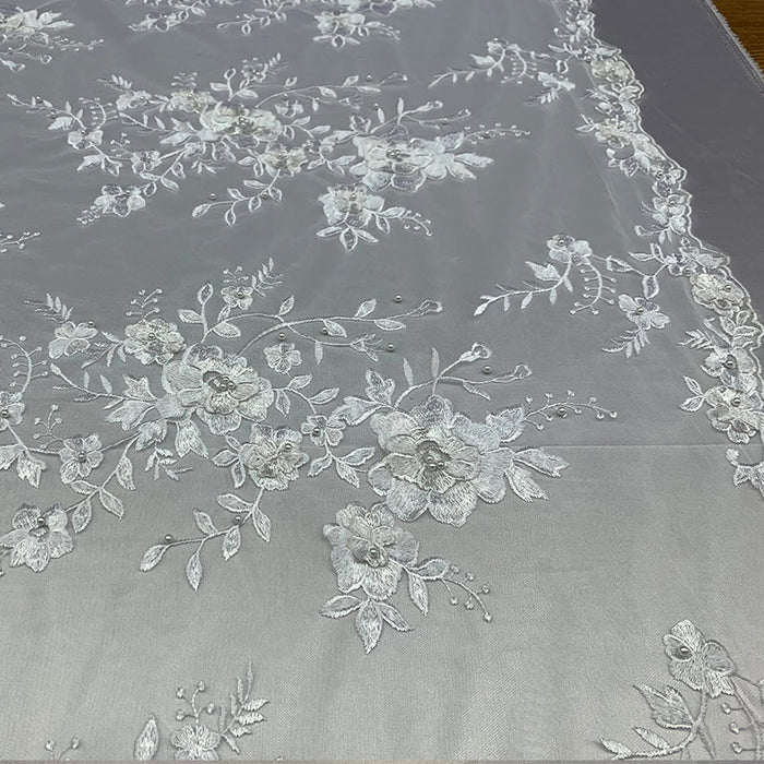White - Elegant 3D Handmade Floral Flowers Beaded Mesh Lace Fabric By The Yard - IceFabrics