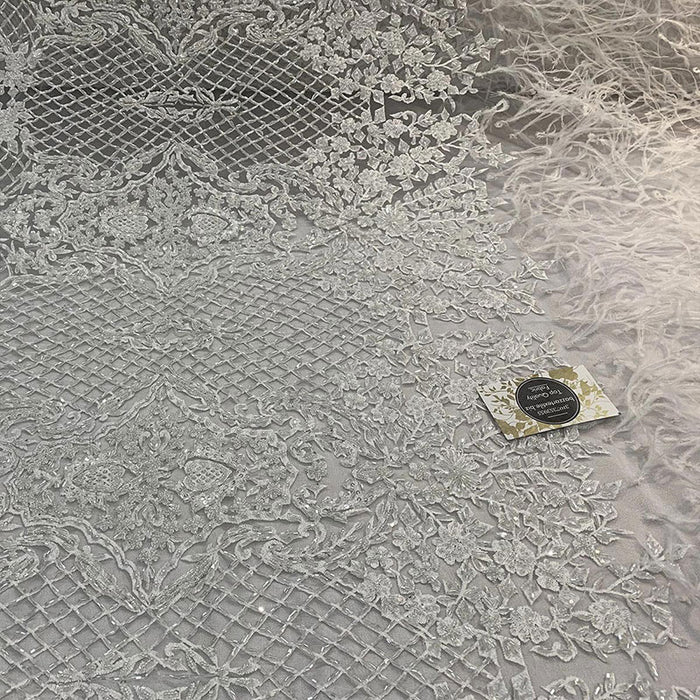 White - High-quality Handmade Feathers Mesh Lace Fabric - IceFabrics