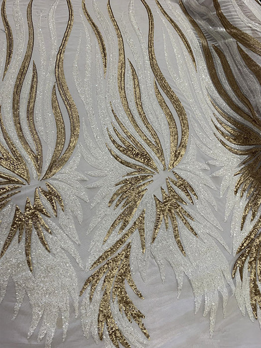 White/Gold - FEATHER French Sequins//Spandex Mesh 4 Way Stretch Sequins Spandex Mesh Lace Fabric By Yard//Sequins Stretch Prom Lace - IceFabrics