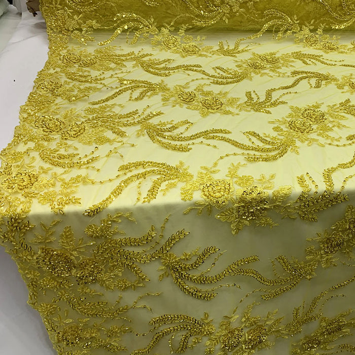 Yellow - FRENCH FLOWERS BEADED MESH LACE FABRIC BY THE YARD - IceFabrics