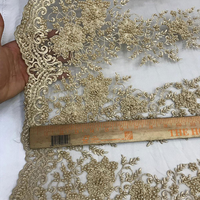 Beige - Lace By The Yard Embroidered Lace With Beads And Sequin French Bridal Veil Wedding Decoration Home tablecloths women fashion dress - IceFabrics