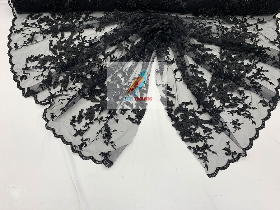 Black - KING Design Fashion Bridal Lace//Embroidered Beaded 3D Flowers Lace//Floral Beaded Mesh Lace Fabric By The Yard//Prom Gowns Costumes - IceFabrics