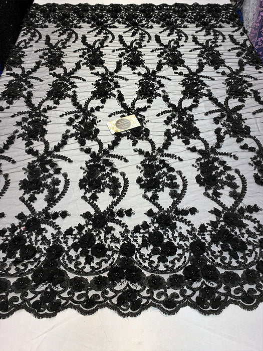 Black - 3D BEADED Flowers Bridal Beaded Mesh Lace Fabric By The Yard//  Fabric Floral Pattern Embroidered Lace With beads - IceFabrics