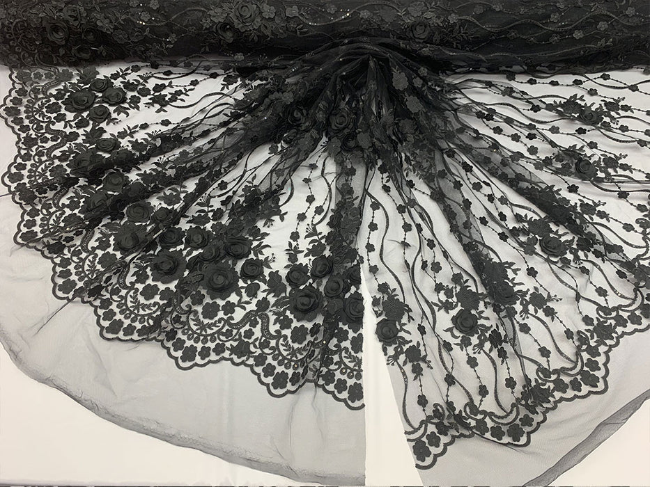 Black - Embroidered Fashion Modern 3D Flowers Mesh Lace Fabric By The Yard//Floral Lace/ Handmade Lace/ Corded Flowers Lace/Veil Gowns - IceFabrics