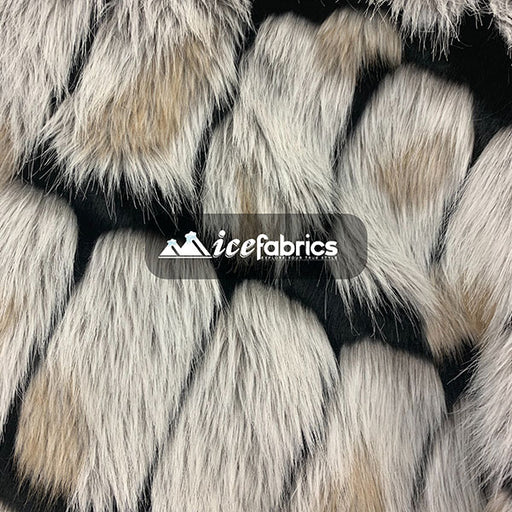 Black - Rectangular Long Pile Fake Faux Fur Fabric By The Yard  (4 Colors) - IceFabrics
