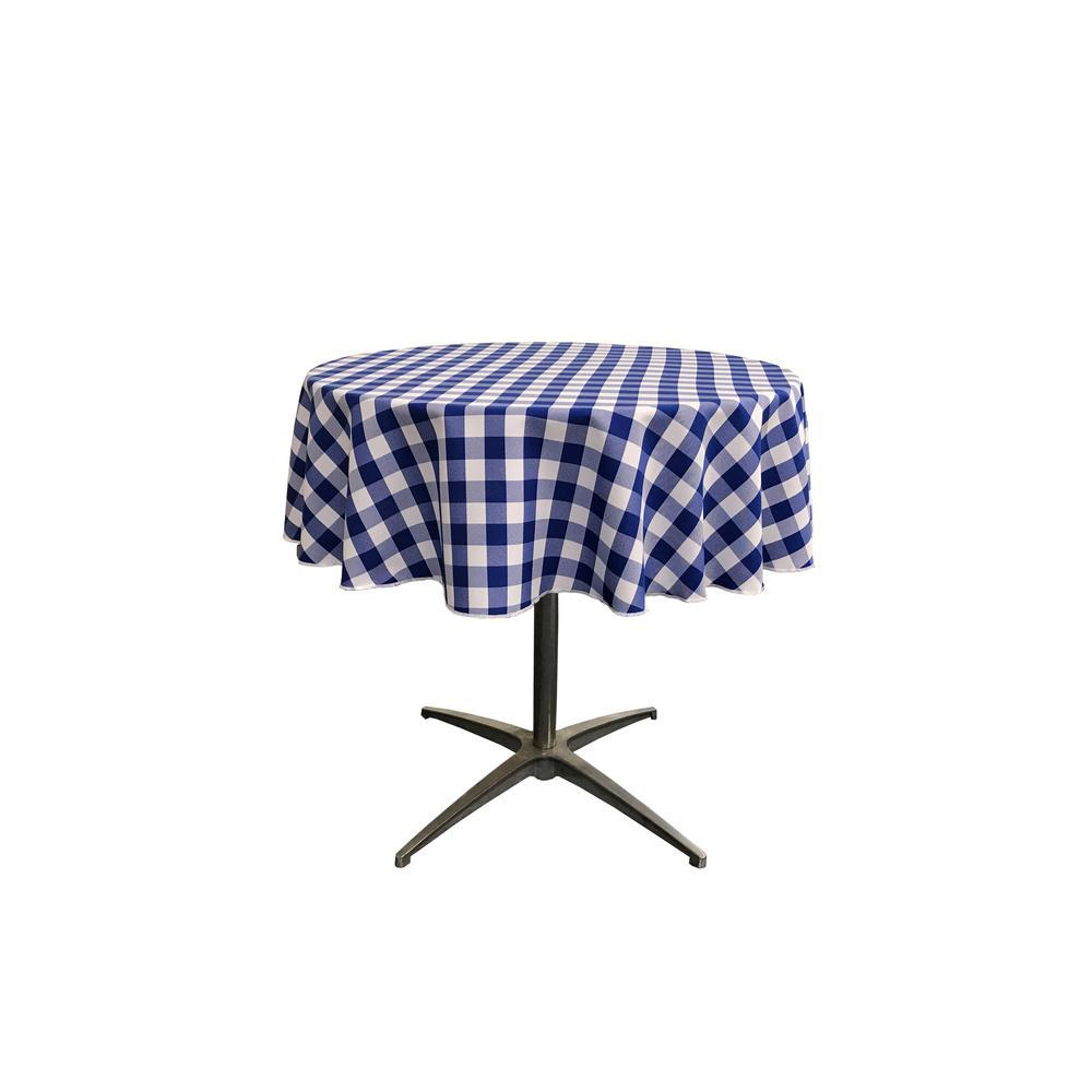 "51"" White Royal Blue Checkered Polyester Round Tablecloth - IceFabrics"