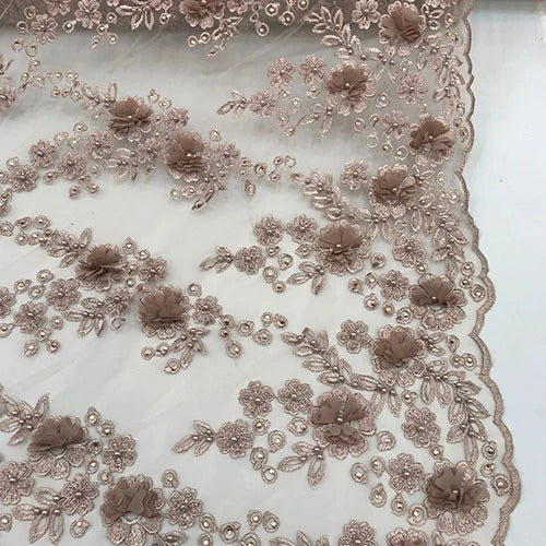 Blush - Debora Design Beaded Mesh Lace Fabric 3D Flowers - IceFabrics