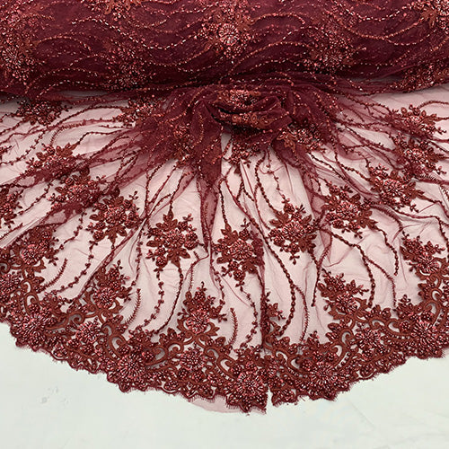 Burgendy - NEW Paris Lace//Lace Mesh Beaded Flowers Hand Beaded Floral FABRIC By The Yard//Fashion Embroidery Lace//Heavy Beaded Fabric Prom Lace - IceFabrics