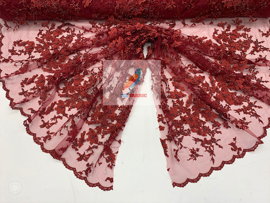 Burgundy - KING Design Fashion Bridal Lace//Embroidered Beaded 3D Flowers Lace//Floral Beaded Mesh Lace Fabric By The Yard//Prom Gowns Costumes - IceFabrics