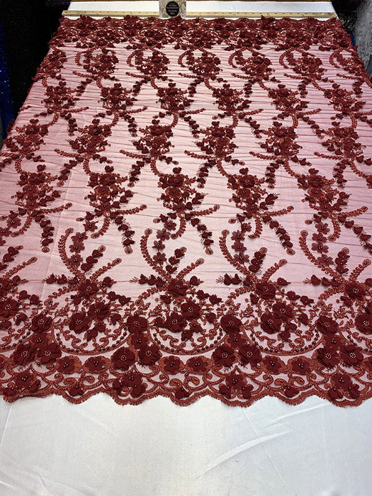 Burgundy - 3D BEADED Flowers Bridal Beaded Mesh Lace Fabric By The Yard//  Fabric Floral Pattern Embroidered Lace With beads - IceFabrics