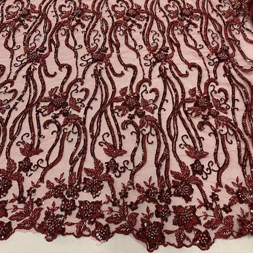 Burgundy - Elegant Embroidery Bridal Floral Flowers Beaded Lace Fabric (20 Colors) - IceFabrics