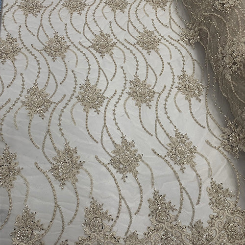 Champagne - NEW Paris Lace//Lace Mesh Beaded Flowers Hand Beaded Floral FABRIC By The Yard//Fashion Embroidery Lace//Heavy Beaded Fabric Prom Lace - IceFabrics