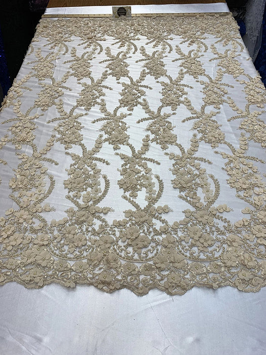 Champagne - 3D BEADED Flowers Bridal Beaded Mesh Lace Fabric By The Yard//  Fabric Floral Pattern Embroidered Lace With beads - IceFabrics