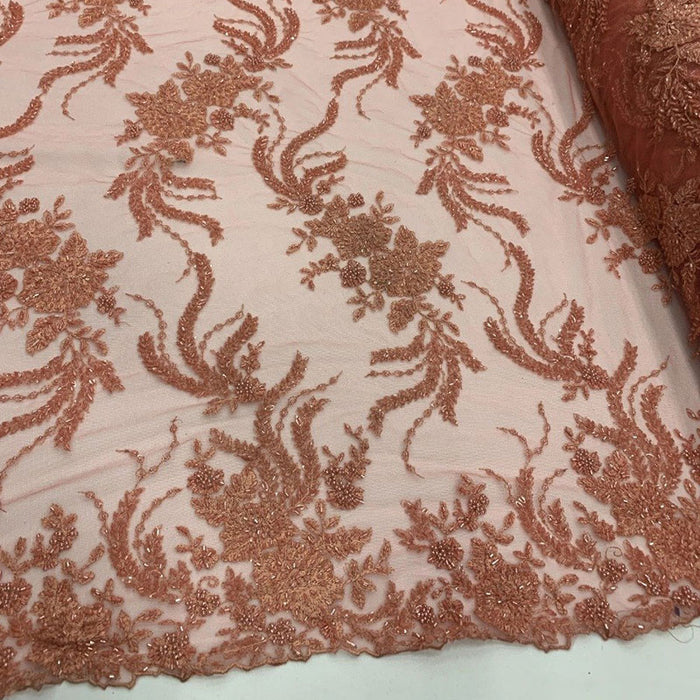 Coral - FRENCH FLOWERS BEADED MESH LACE FABRIC BY THE YARD - IceFabrics
