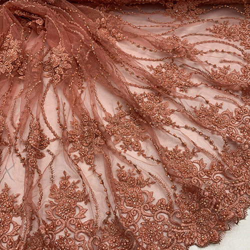 Coral - NEW Paris Lace//Lace Mesh Beaded Flowers Hand Beaded Floral FABRIC By The Yard//Fashion Embroidery Lace//Heavy Beaded Fabric Prom Lace - IceFabrics