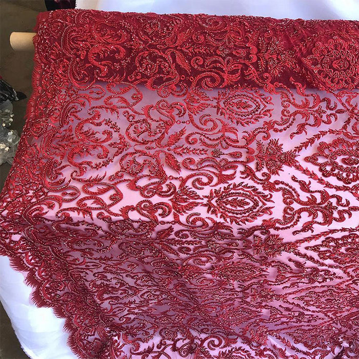 Dark Red - Lace By The Yard Embroidered Lace With Beads And Sequins French Bridal Veil Wedding Decoration Home tablecloths women fashion dress - IceFabrics