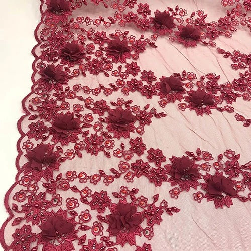 Burgundy - Debora Design Beaded Mesh Lace Fabric 3D Flowers - IceFabrics