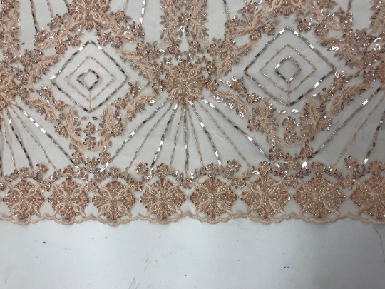 Peach - Bridal Lace Fabric Hand Beading Mesh Lace With Sequins - IceFabrics