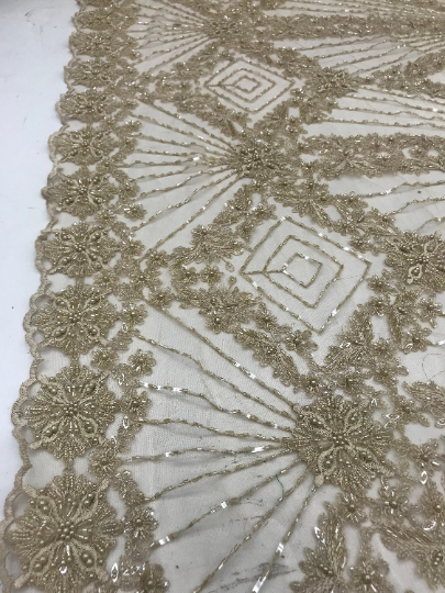 Cream - Bridal Lace Fabric Hand Beading Mesh Lace With Sequins - IceFabrics