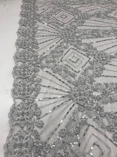 Silver - Bridal Lace Fabric Hand Beading Mesh Lace With Sequins - IceFabrics