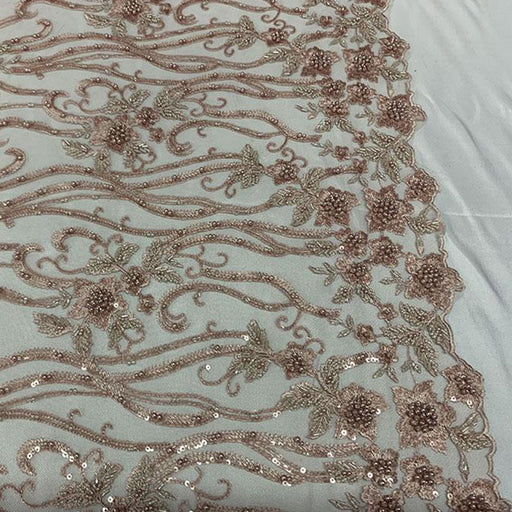 Dusty Rose  - Elegant Embroidery Bridal Floral Flowers Beaded Lace Fabric (20 Colors) - IceFabrics