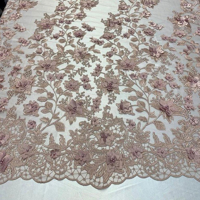 Dusty Rose - HIGH QUALITY Beaded Lace Embroidery Mesh Lace Fabric By The Yard Handmade Floral Lace 3D Flowers Design With Beads And Pearls - IceFabrics