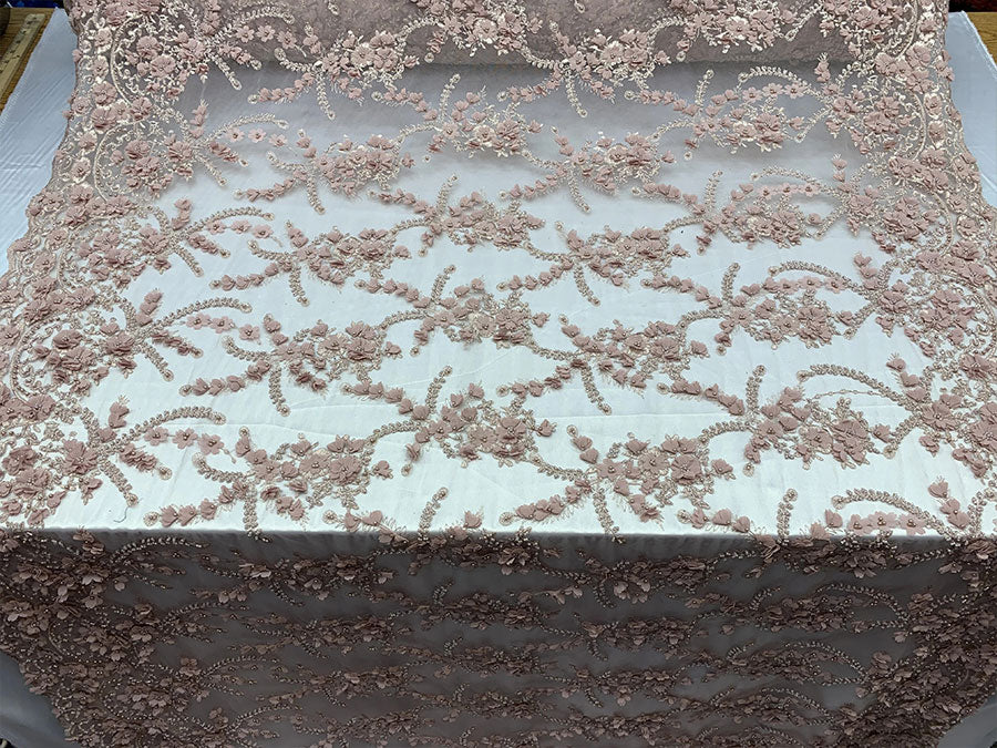 Dusty Rose - 3D BEADED Flowers Bridal Beaded Mesh Lace Fabric By The Yard//  Fabric Floral Pattern Embroidered Lace With beads - IceFabrics