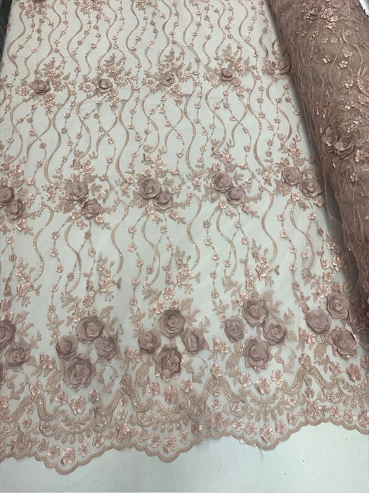 Dusty Rose - Embroidered Fashion Modern 3D Flowers Mesh Lace Fabric By The Yard//Floral Lace/ Handmade Lace/ Corded Flowers Lace/Veil Gowns - IceFabrics