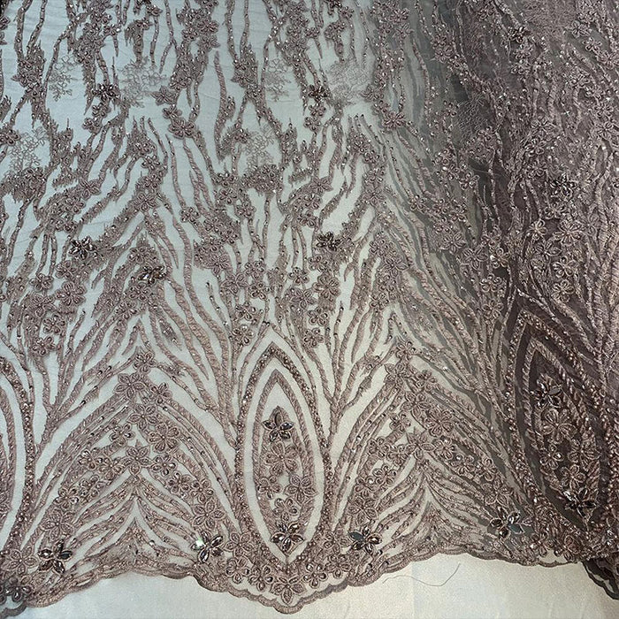 DUSTY ROSE - Wedding Lace Hand Beading Flowers With Sequins/ Floral Lace Fabric - IceFabrics