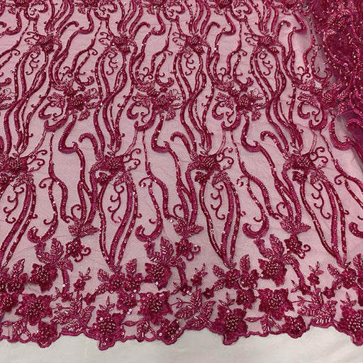 Fuchsia  - Elegant Embroidery Bridal Floral Flowers Beaded Lace Fabric (20 Colors) - IceFabrics