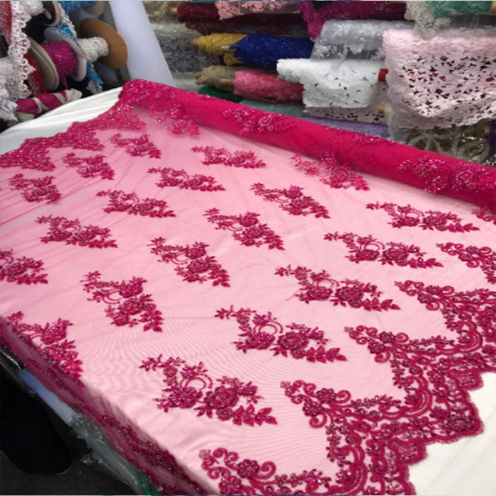Fuchsia - Floral Embroidered Bridal Wedding Beaded Mesh Lace Fabric - IceFabrics