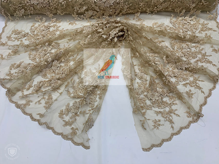 Gold - KING Design Fashion Bridal Lace//Embroidered Beaded 3D Flowers Lace//Floral Beaded Mesh Lace Fabric By The Yard//Prom Gowns Costumes - IceFabrics